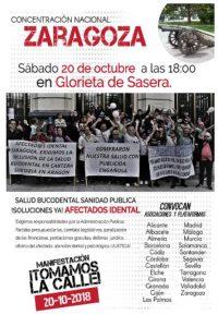 Cartel de la movilización de iDental, apoyada por la asociación de consumidores en Zaragoza ACTORA Consumo