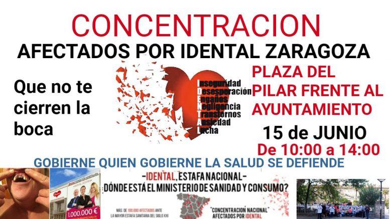 Cartel de la movilización de los afectados por iDental en Zaragoza.